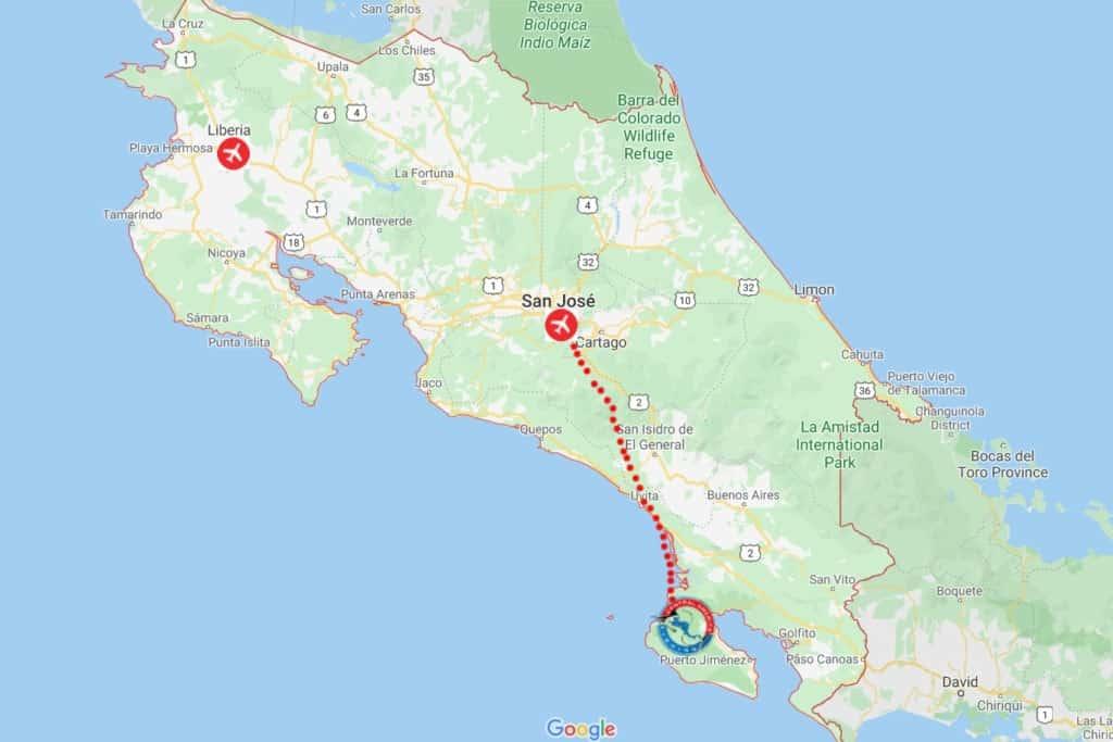 Osa Peninsula, Costa Rica Map