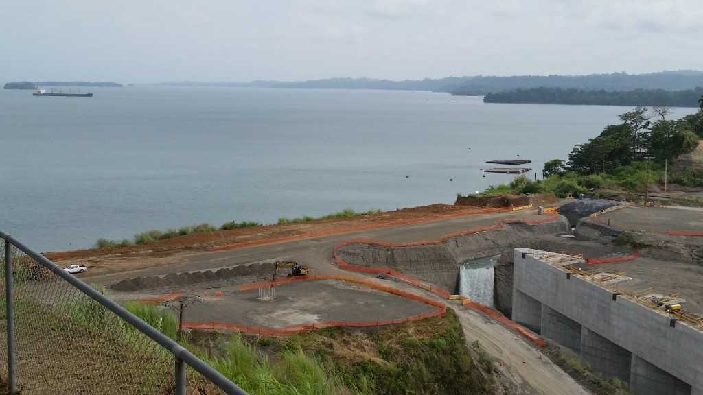 The filling of the new Panama Canal expansion near Colon, Panama.