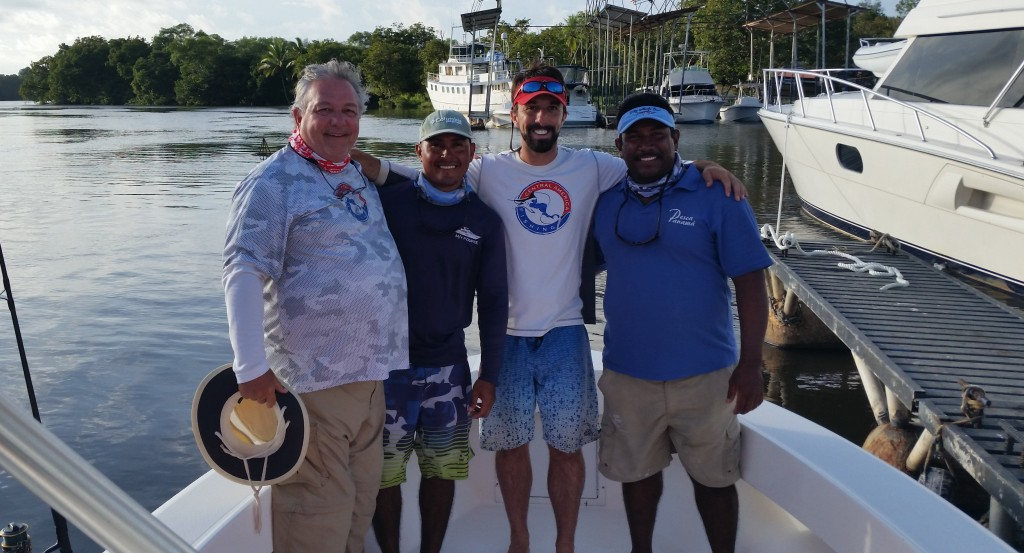 From left to right - my dad, First Mate Juan, myself, and Captain Jose.