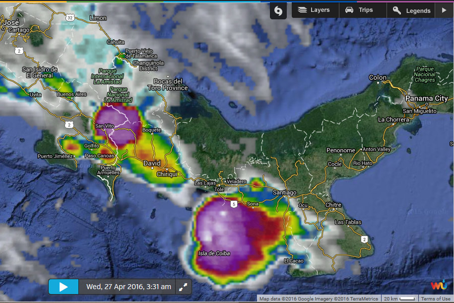 Gulf of Chiriqui Fishing Grounds with weather
