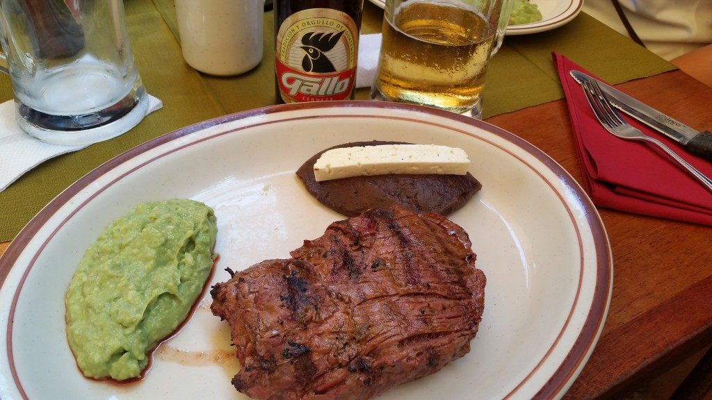 Our welcome into Guatemala- a hot steak and a cold Gallo cerveza
