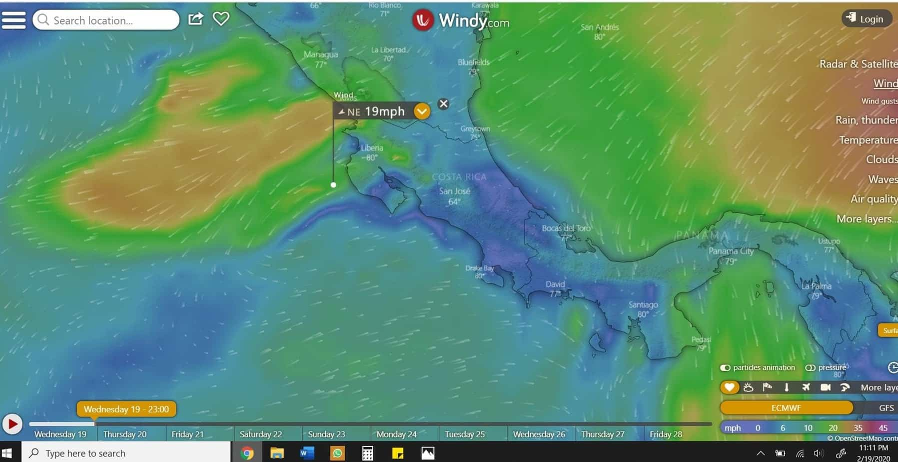 Costa Rica Wind Map for February