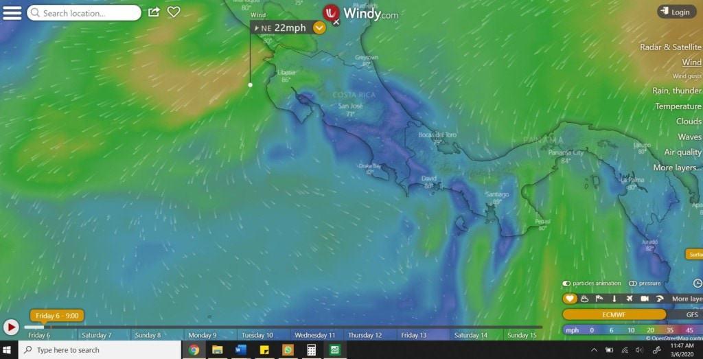 Costa Rica Wind - March