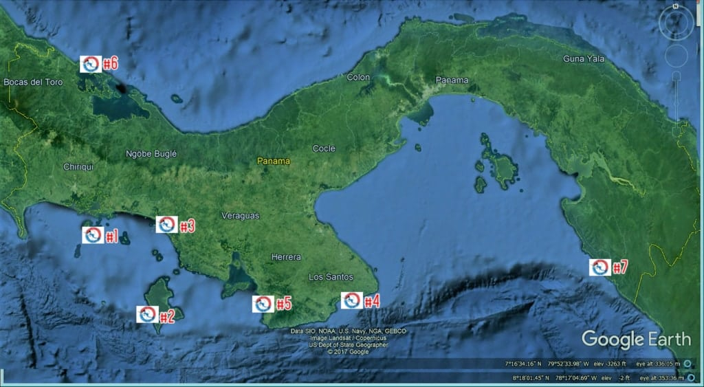 Map of the 7 Best Fishing Lodges in Panama