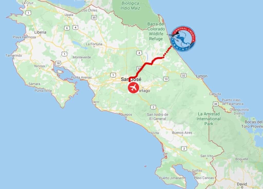 Costa Rica Tarpon Fishing Map