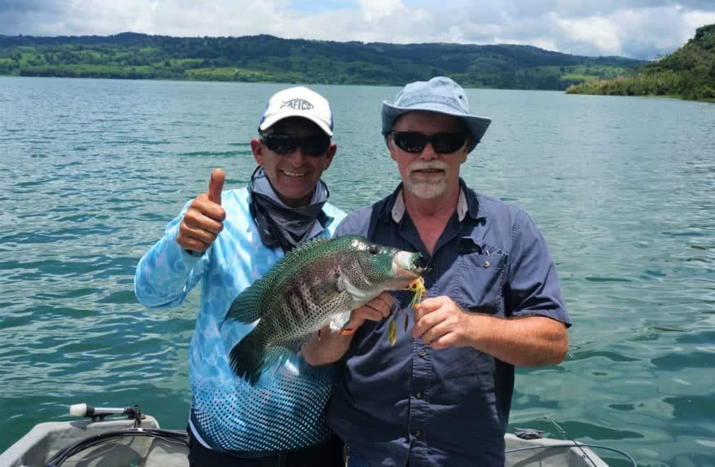Rainbow bass caught on spinner bait