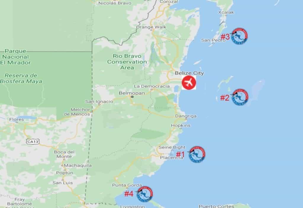 Belize tarpon fishing map