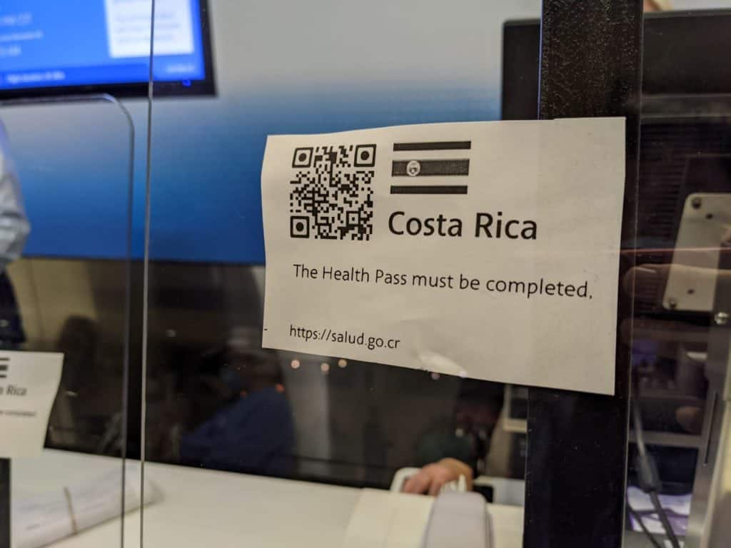QR Code for the Health Pass to enter Costa Rica
