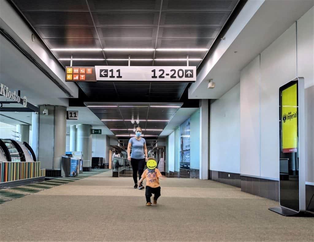 Running through an empty SJO Airport